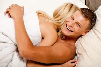 couple in bed - the man has just made the women come